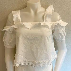 NICHOLAS White Cotton Cold Shoulder Crop Top UK6